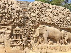 Descent of the Ganges at Mahabalipuram, Tamil nadu, India. It contains bas-relief rock cut sculptures of Gods, Peoples and Elephants carved in the two monolithic giant rocks.