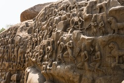 Descent of the Ganges is a monument at Mamallapuram, on the Coromandel Coast of the Bay of Bengal. Arjuna's Penance a large rock relief carving in Mahabalipuram, Tamil Nadu
