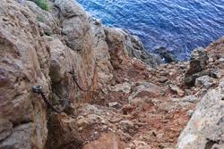Descent to Cova Tallada in Spain, Europe.