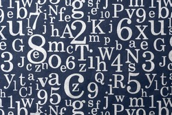 Description:  Gray numbers and letters on a dark background. Title: Gray numbers and letters background.