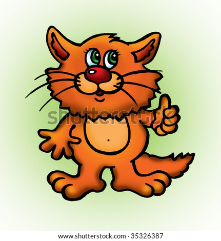 Description isolated orange cartoon cat shows thumb stock - Cat cartoon shows ...