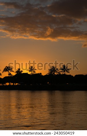 Description:  Late evening silhouette of Honolulu from the water. Title:  \