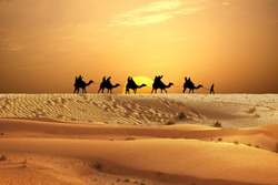 Desert adventure with camels ride and travellers on sand dunes