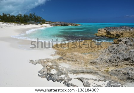 Desert beach of Little Exuma, Bahamas