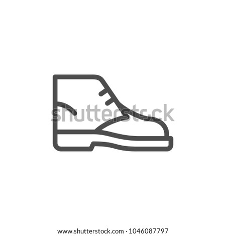 Desert boot line icon isolated on white