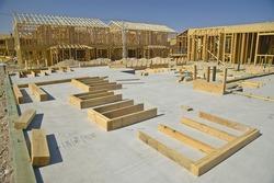 Desert construction of new homes in Clark County, Las Vegas, NV