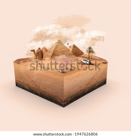 Desert 3d box manipulation. Camel and car driving in the desert. Pyramids. Swift bird. Desert tent. 3D illustration. Manipulation collage pyramids desert. Foto stock ©
