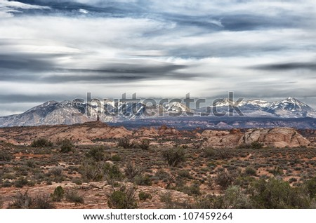 Desert foreground with the La Sal mountains in the background.  Taken in Utah, USA.