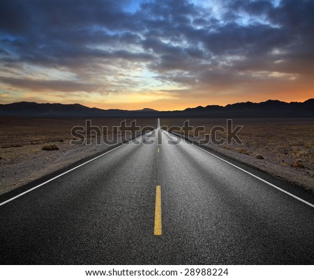Desert Highway And Mountains At Sunset, Death Valley National Park, California