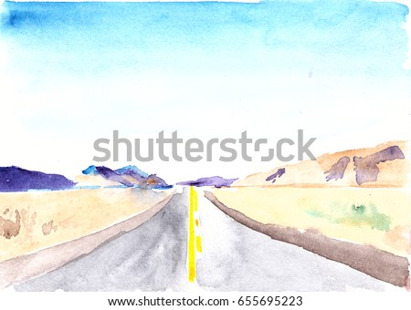 Desert highway and mountains. The road goes the distance. Perfectly smooth highway across the endless desert. Watercolor illustration on the theme of travel.