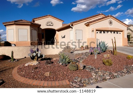 Desert Home, Green Valley Arizona with a xeriscape front yard.