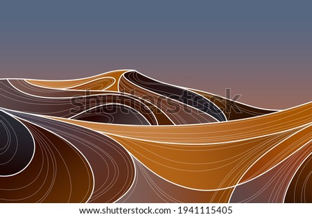 Desert Illustration. Desert Landscape. Dunes desert. Minimalism illustration. Hand drawn image
