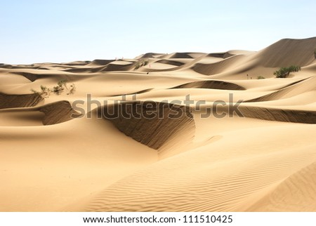 Desert in Hasi Labied, Moroco, Africa. Interesting colored sand dunes. Popular travel destination.
