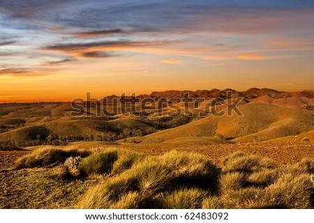 Desert land sunset