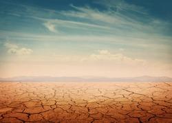 Desert landscape background global warming concept