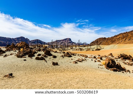 Desert Landscape in Volcan Teide National Park, Tenerife, Canary Island, Spain #503208619