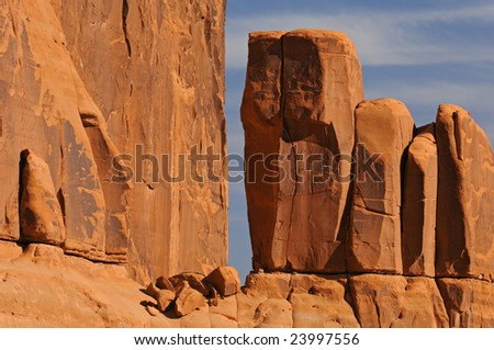 Desert landscape of Entrada sandstone, Arches National Park, Utah, USA