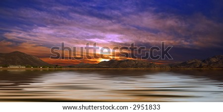 Desert Landscape Panoramic View of Mountains and Water