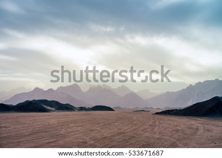 Desert landscape. Sahara landscapes an the sunset. Low light photo.
