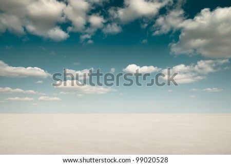 Desert landscape with clouds