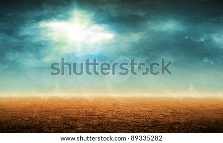 Desert landscape with clouds (Grunge old background)