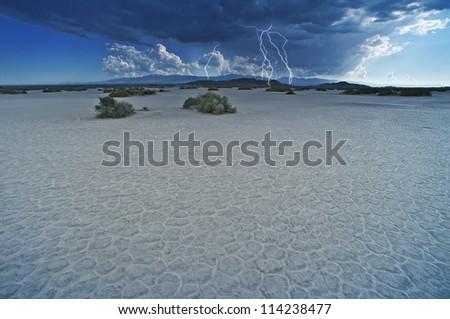 Desert Lightning Storm - Desert Thunderstorm. Mojave Desert, California, USA. Nature Photo Collection