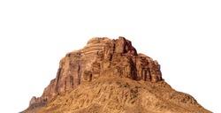 Desert mountain from  Wadi Rum (Jordan) isolated on white background