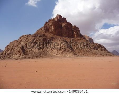 Desert mountain in Wadi Rum desert in Jordan in the Middle East