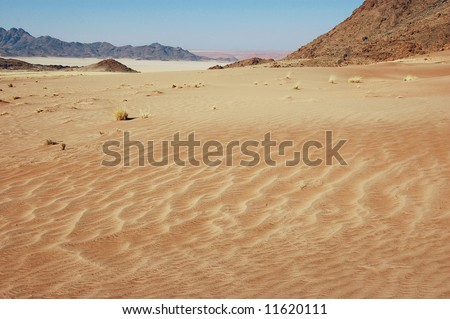 Desert Mountains background. Namibia, Deadvlei, Sossuvlei.