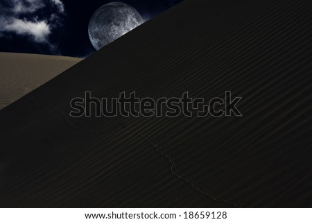 Desert night with moon over sands