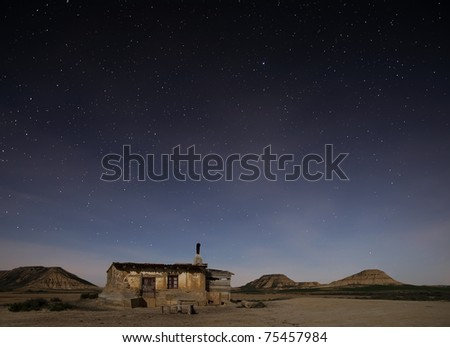 Desert of Bardenas at night