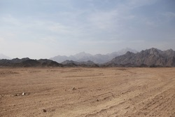Desert on a background of mountains in Egypt