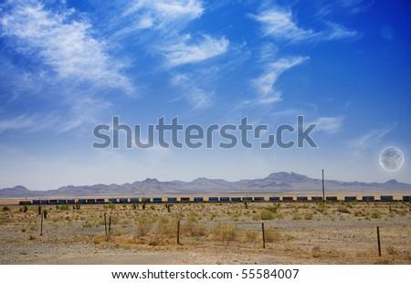 Desert Panorama with Train - stock photo
