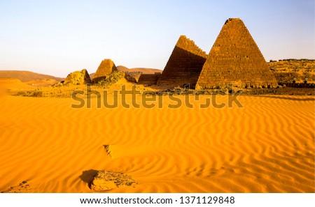 Desert pyramids landscape. Sand desert pyramids view. Desert pyramids background. Desert pyramids view