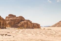 Desert, red mountains, rocks and blue sky. Egypt, the Sinai Peninsula, Dahab.