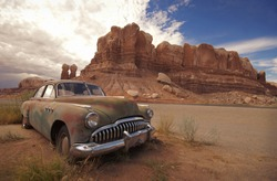 Desert Relic/Old Car rusting away in the desert