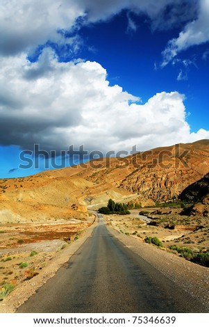 Desert road in Atlas Mountains, Morocco, Africa