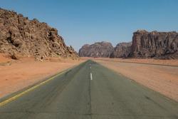 Desert road in remote rural area of Tabuk in north western Saudi Arabia