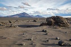 Desert sands volcanic ash and lava formations at Ódáðahraun (Lava of Evil Deeds), the largegst Icelandic lava field, Highlands of Iceland, Scandinavia