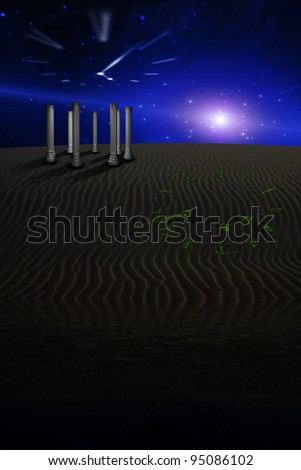 Desert Scene with temple and  image of clock