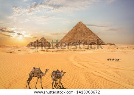 Desert scenery of the Pyramids in Giza, Egypt #1413908672