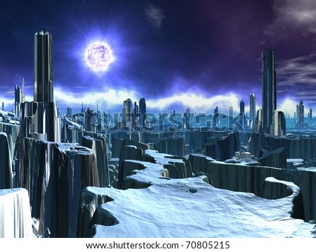 Deserted Alien City with Dying Sun