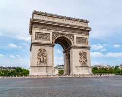 Deserted Arc de Triomphe during Covid-19 Lockdown in Paris.