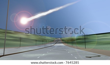 Deserted freeway with descending asteroid