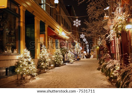 Deserted street in Quebec City decorated for Christmas