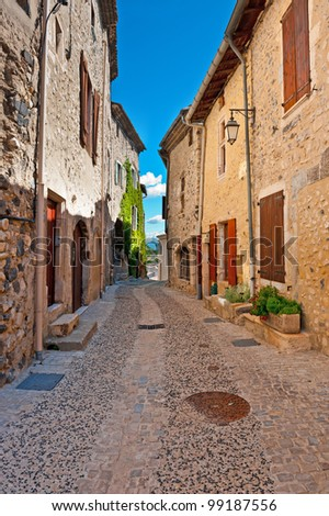 Deserted Street of the French City of Rochemaure