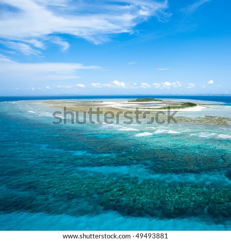 Deserted tropical coral island from above, Okinawa, Japan
