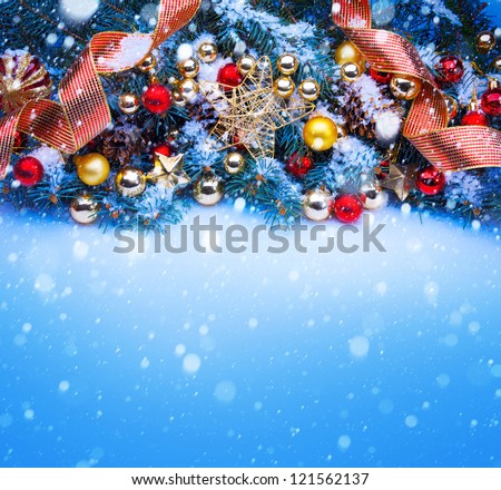 Design a blue Christmas greeting card background - stock photo