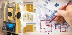 Design a new building - concept with an imaginary cadastral map and 3D rendering of a geodesic device, called Total Station, used to survey and draw topographic maps against a building project.