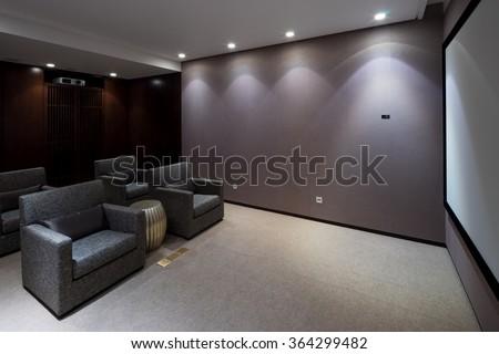 design and furniture in modern home theatre #364299482